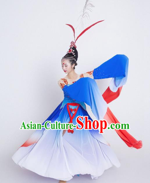 Chinese Traditional Classical Dance Costume Palace Peri Dance Water Sleeve Blue Dress for Women