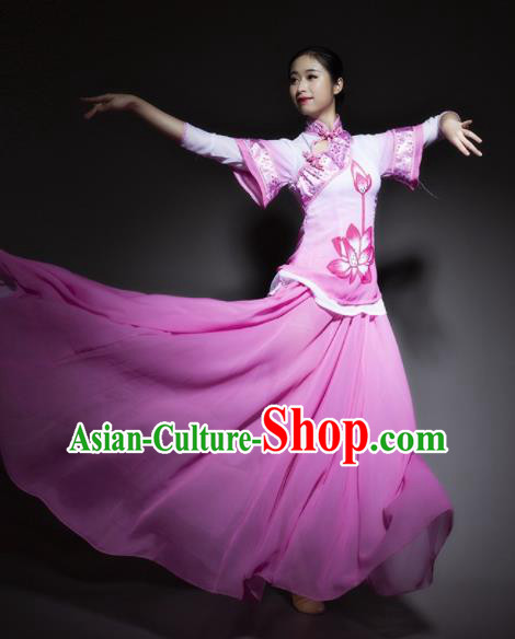 Chinese Traditional Classical Dance Costume Lotus Dance Pink Dress for Women