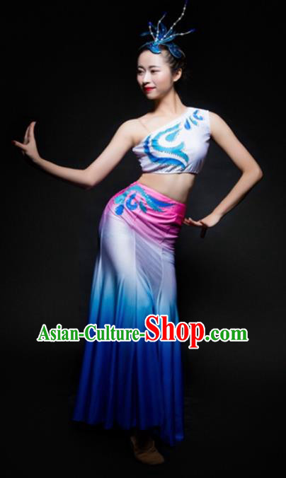 Chinese Traditional Dai Nationality Dance Costume Ethnic Peacock Dance Blue Dress for Women