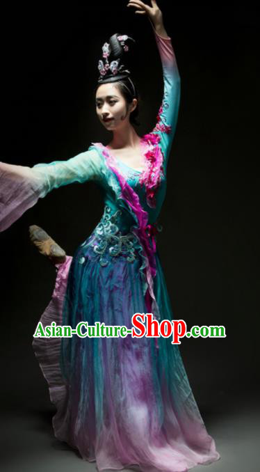 Chinese Traditional Classical Dance Costume Umbrella Dance Blue Dress for Women