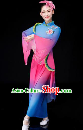 Chinese Traditional National Fan Dance Clothing Folk Dance Yangko Dance Blue Clothing for Women