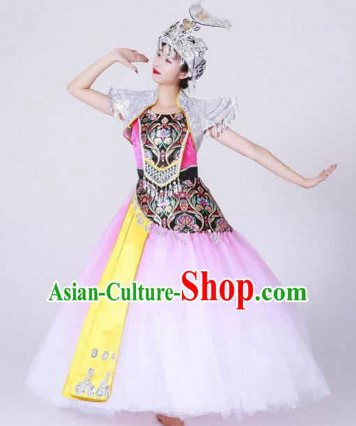 Chinese Traditional Miao Nationality Costume Hmong Ethnic Folk Dance Pink Dress for Women