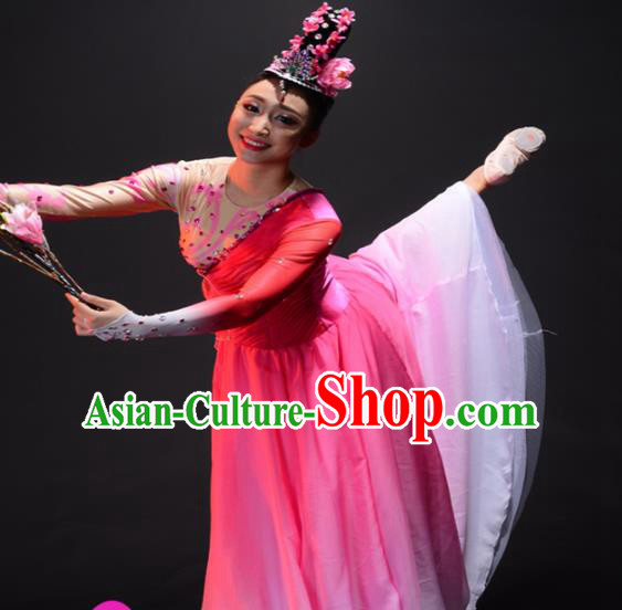 Chinese Traditional Classical Lotus Dance Costume Umbrella Dance Pink Dress for Women