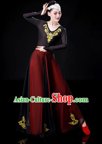 Traditional Chinese Uyghur Nationality Dance Dress Uigurian Folk Dance Ethnic Costume for Women