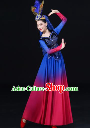 Traditional Chinese Uyghur Nationality Dance Rosy Dress Uigurian Folk Dance Ethnic Costume for Women