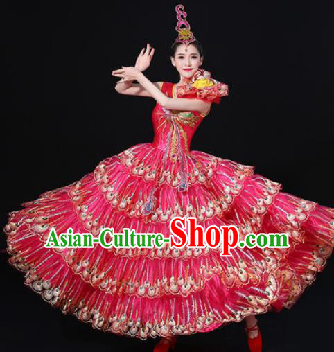 Chinese Traditional Modern Dance Rosy Dress Spring Festival Gala Opening Dance Stage Performance Costume for Women