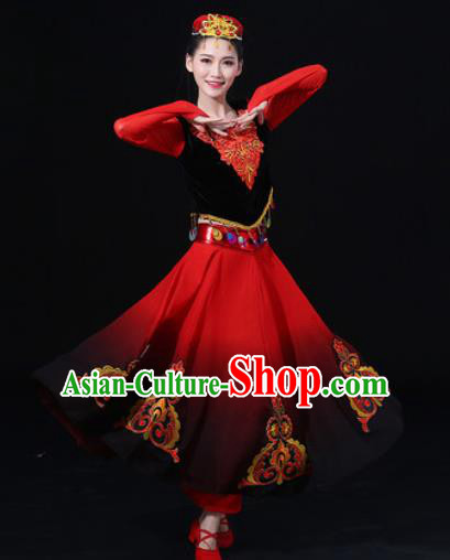 Traditional Chinese Uyghur Nationality Folk Dance Dress Uigurian National Ethnic Costume for Women