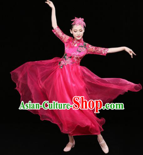 Chinese Traditional Chorus Rosy Dress Spring Festival Gala Dance Stage Performance Costume for Women