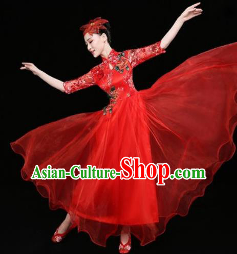 Chinese Traditional Chorus Red Dress Spring Festival Gala Dance Stage Performance Costume for Women