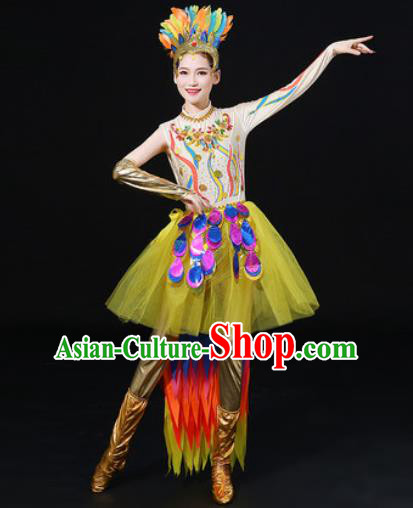 Chinese Traditional Modern Dance Feather Dress Spring Festival Gala Dance Stage Performance Costume for Women