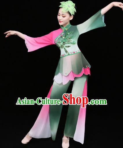 Chinese Traditional Stage Performance Fan Dance Deep Green Clothing Folk Dance Group Yangko Dance Costume for Women