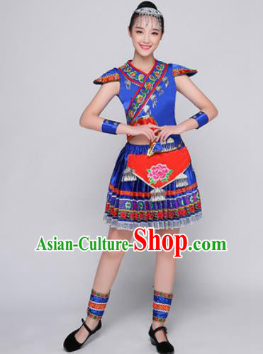 Traditional Chinese Miao Nationality Folk Dance Blue Dress Hmong National Ethnic Costume for Women