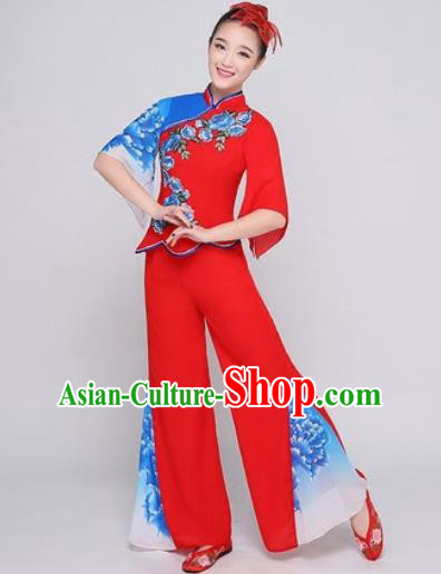 Chinese Traditional Fan Dance Red Clothing Folk Dance Group Yangko Dance Costume for Women