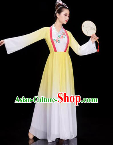 Chinese Traditional Umbrella Dance Jasmine Flower Dance Yellow Dress Classical Dance Stage Performance Costume for Women