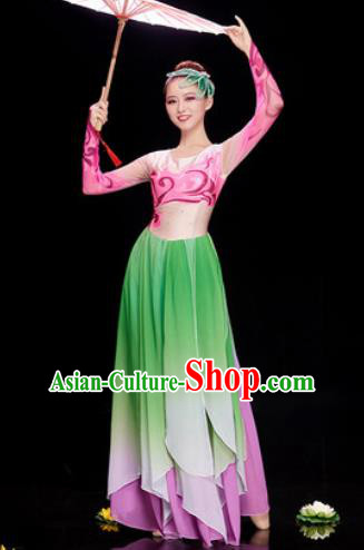 Chinese Traditional Umbrella Dance Green Dress Classical Jasmine Flower Dance Stage Performance Costume for Women