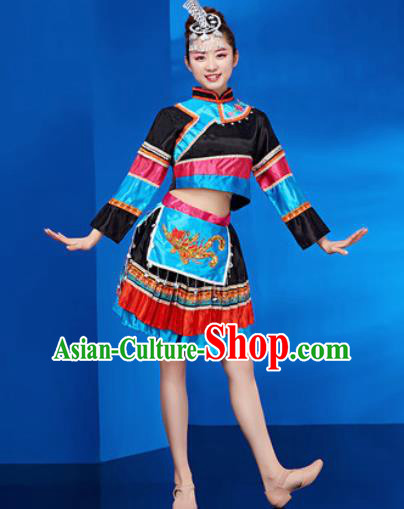 Traditional Chinese Zhuang Nationality Folk Dance Black Dress National Ethnic Dance Costume for Women