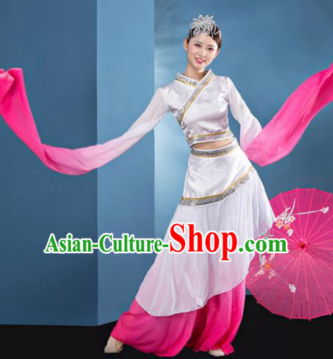 Chinese Traditional Umbrella Dance Pink Dress Classical Lotus Dance Stage Performance Costume for Women