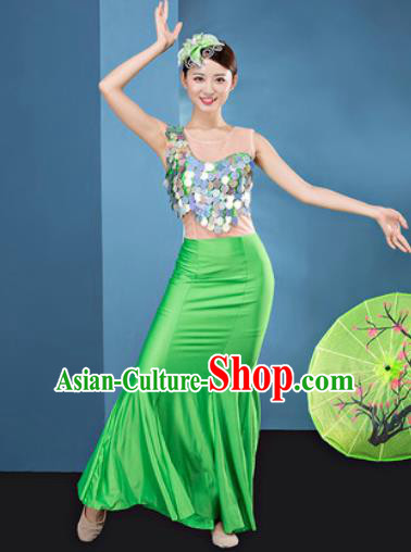 Traditional Chinese Dai Nationality Folk Dance Green Silk Dress National Ethnic Peacock Dance Costume for Women