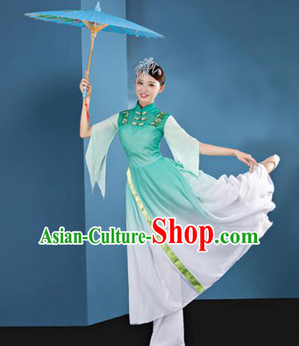Chinese Traditional Umbrella Dance Green Dress Classical Lotus Dance Stage Performance Costume for Women