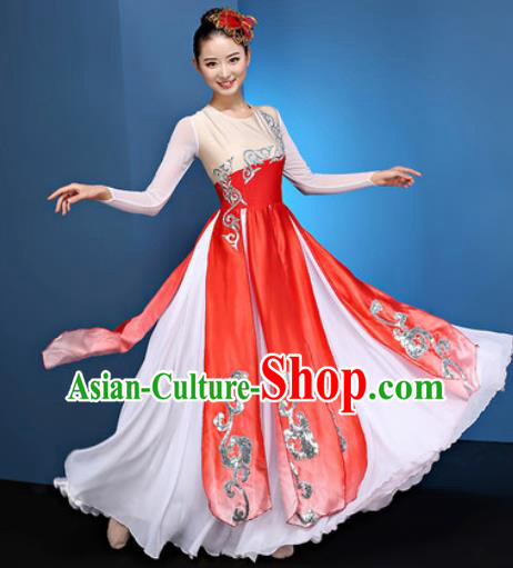Chinese Traditional Umbrella Dance Red Dress Classical Lotus Dance Stage Performance Costume for Women