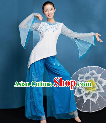 Traditional Chinese Folk Dance Stage Show Clothing Group Fan Dance Blue Costume for Women