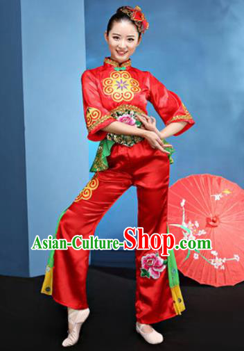 Traditional Chinese Folk Dance Yangko Stage Show Clothing Group Fan Dance Costume for Women