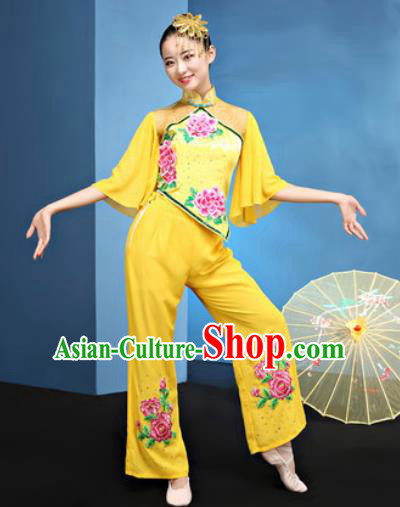Traditional Chinese Folk Dance Yangko Stage Show Clothing Group Fan Dance Yellow Costume for Women