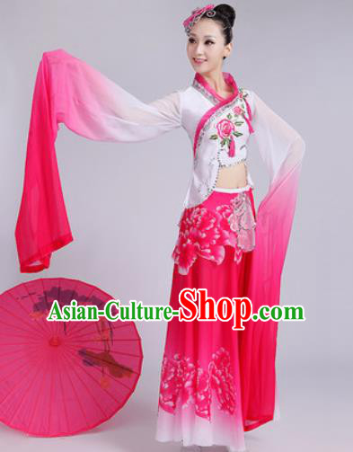 Chinese Traditional Umbrella Dance Rosy Dress Classical Lotus Dance Stage Performance Costume for Women