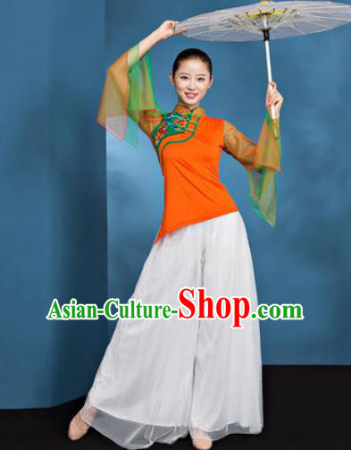 Traditional Chinese Folk Dance Stage Show Clothing Group Fan Dance Orange Costume for Women