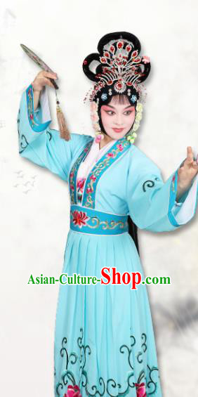 Chinese Traditional Peking Opera Peri Blue Dress Classical Beijing Opera Actress Costume for Adults