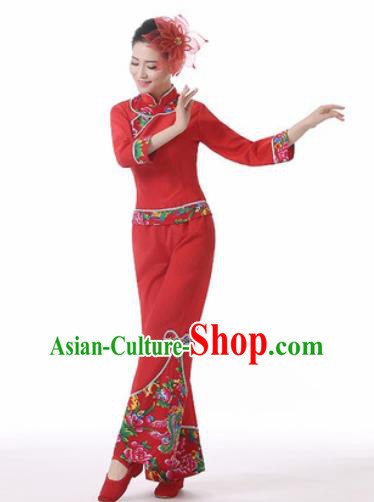 Traditional Chinese Spring Festival Folk Dance Red Clothing Yangko Dance Costume for Women