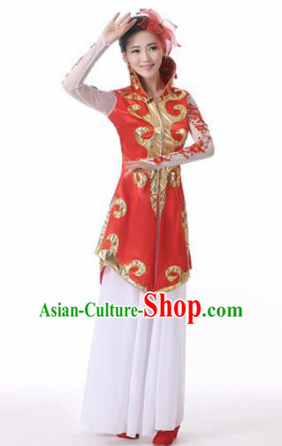 Traditional Chinese Mongol Nationality Folk Dance Red Dress Mongolian National Ethnic Costume for Women