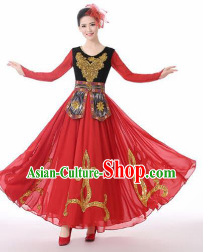 Traditional Chinese Uyghur Nationality Folk Dance Red Dress Uigurian National Ethnic Costume for Women