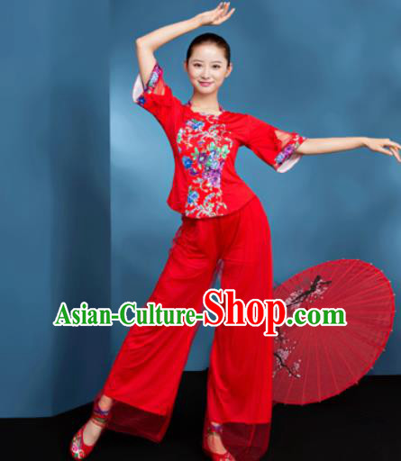 Traditional Chinese Folk Dance Fan Dance Red Clothing Yangko Dance Costume for Women