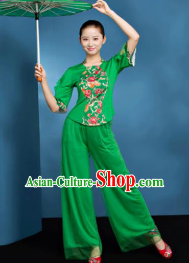 Traditional Chinese Folk Dance Fan Dance Green Clothing Yangko Dance Costume for Women