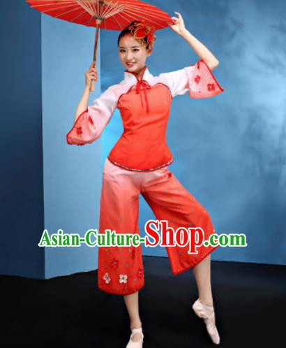 Traditional Chinese Folk Dance Jasmine Flower Dance Red Clothing Yangko Dance Costume for Women