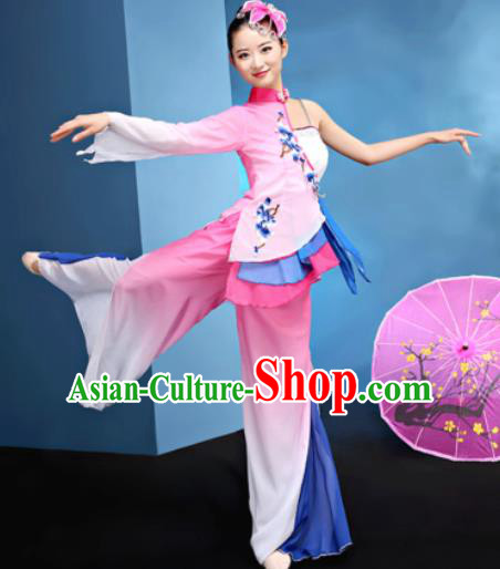 Traditional Chinese Folk Dance Umbrella Dance Pink Clothing Yangko Dance Costume for Women