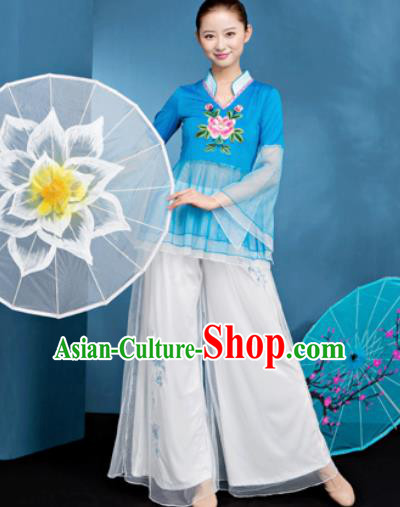 Traditional Chinese Folk Dance Blue Veil Clothing Yangko Dance Fan Dance Costume for Women