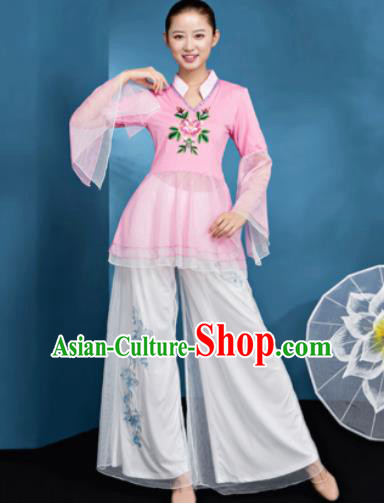 Traditional Chinese Folk Dance Pink Veil Clothing Yangko Dance Fan Dance Costume for Women