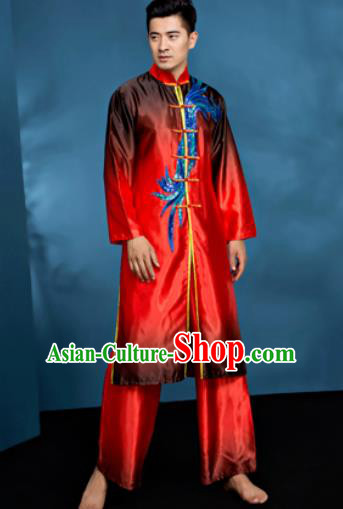 Traditional Chinese Folk Dance Clothing Drum Dance Red Costume for Men