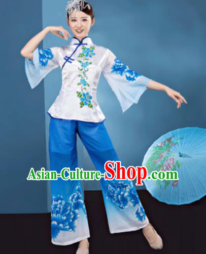 Traditional Chinese Folk Dance Stage Show Clothing Yangko Dance Printing Peony Blue Costume for Women