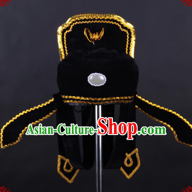 Chinese Traditional Peking Opera Niche Black Hat Classical Beijing Opera Number One Scholar Headwear for Men