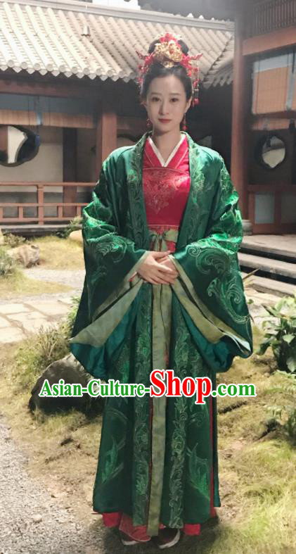 The Story Of MingLan Chinese Drama Ancient Song Dynasty Wedding Embroidered Historical Costume and Headpiece for Women