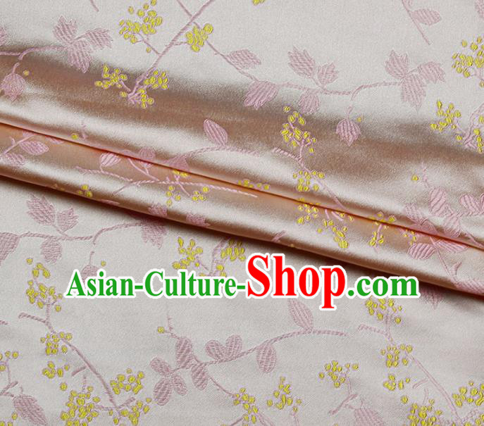 Asian Chinese Royal Wisteria Flowers Pattern Pink Brocade Fabric Traditional Silk Fabric Kimono Material