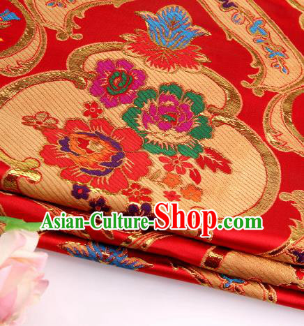 Asian Chinese Traditional Royal Peony Pattern Red Satin Nanjing Brocade Fabric Tang Suit Silk Material