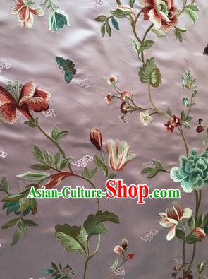 Asian Chinese Suzhou Embroidered Twine Peony Pattern Violet Silk Fabric Material Traditional Cheongsam Brocade Fabric