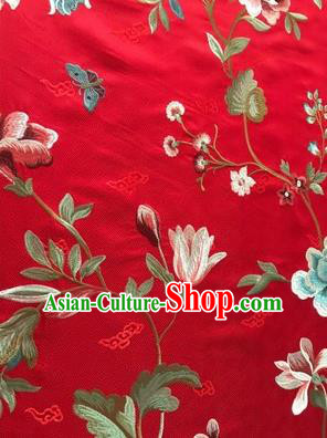Asian Chinese Suzhou Embroidered Twine Peony Pattern Red Silk Fabric Material Traditional Cheongsam Brocade Fabric