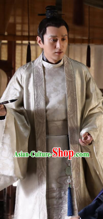 Chinese The Story Of MingLan Ancient Song Dynasty Imperial Academy Scholar Embroidered Historical Costume for Men