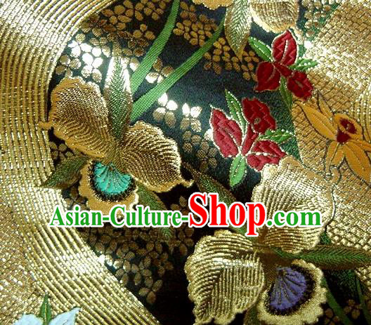 Asian Traditional Damask Classical Flowers Pattern Black Brocade Fabric Japanese Kimono Tapestry Satin Silk Material