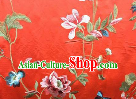 Asian Traditional Fabric Classical Embroidered Peony Pattern Red Watered Gauze Brocade Chinese Satin Silk Material
